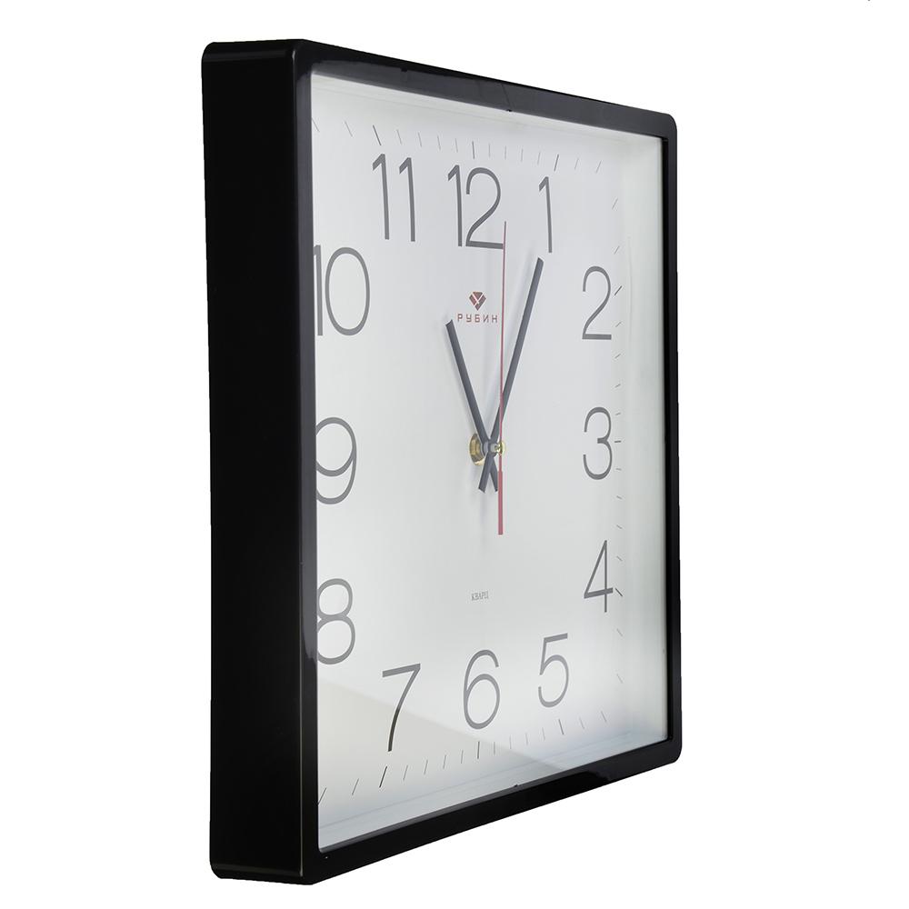 """Часы настенные квадратные, пластик, 30х30см, черный, """"Классика"""""""