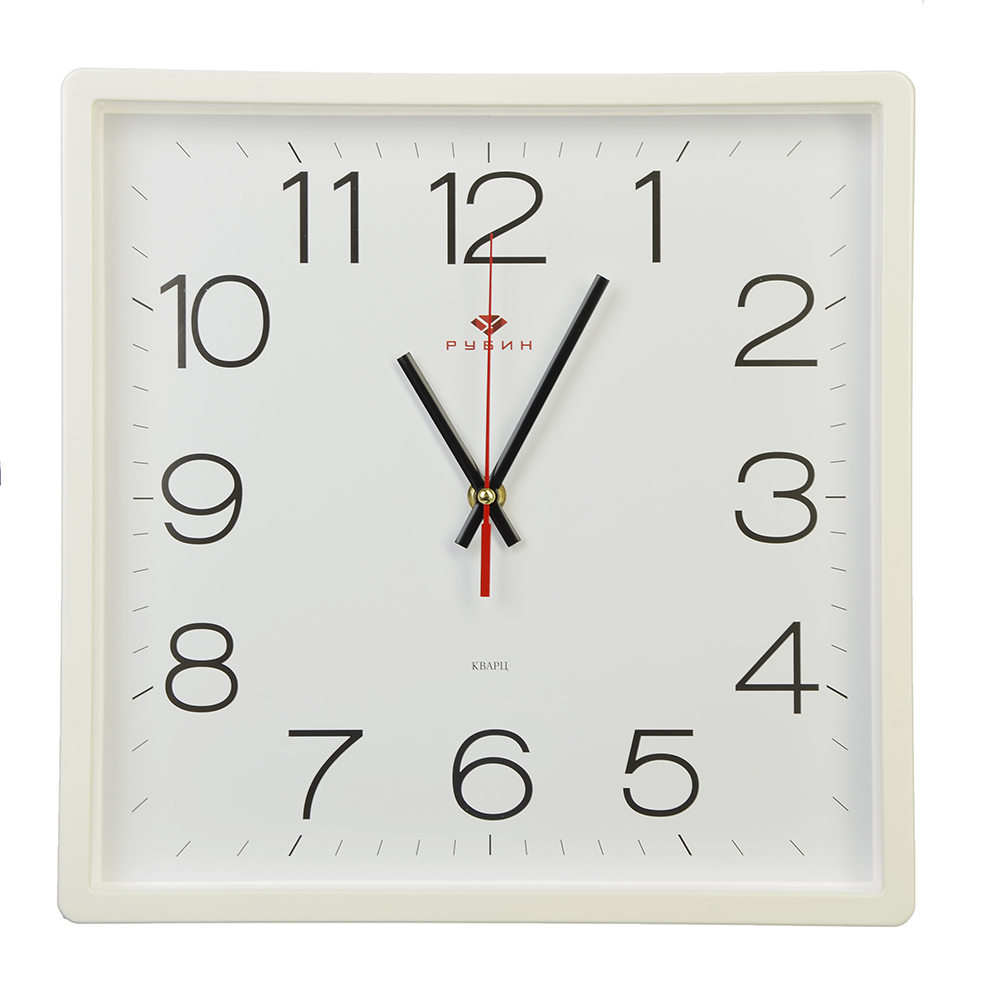 "Часы настенные квадратные, пластик, 30х30см, белый, ""Классика"""