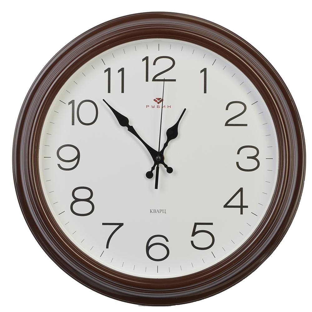 """Часы настенные круглые, пластик, d35см, коричневый, """"Классика"""""""