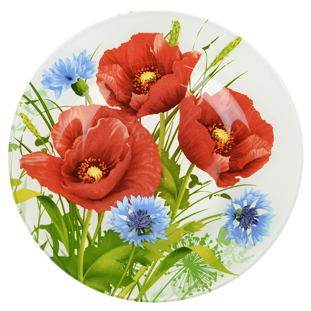 Маковое цветение Тарелка десертная стекло 200мм, S3008