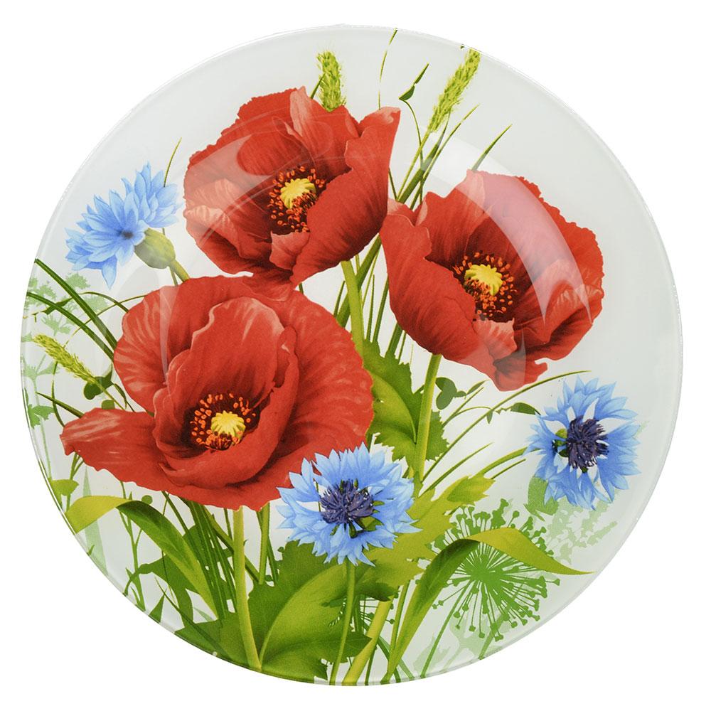 Маковое цветение Тарелка подстановочная стекло 254мм, S3010