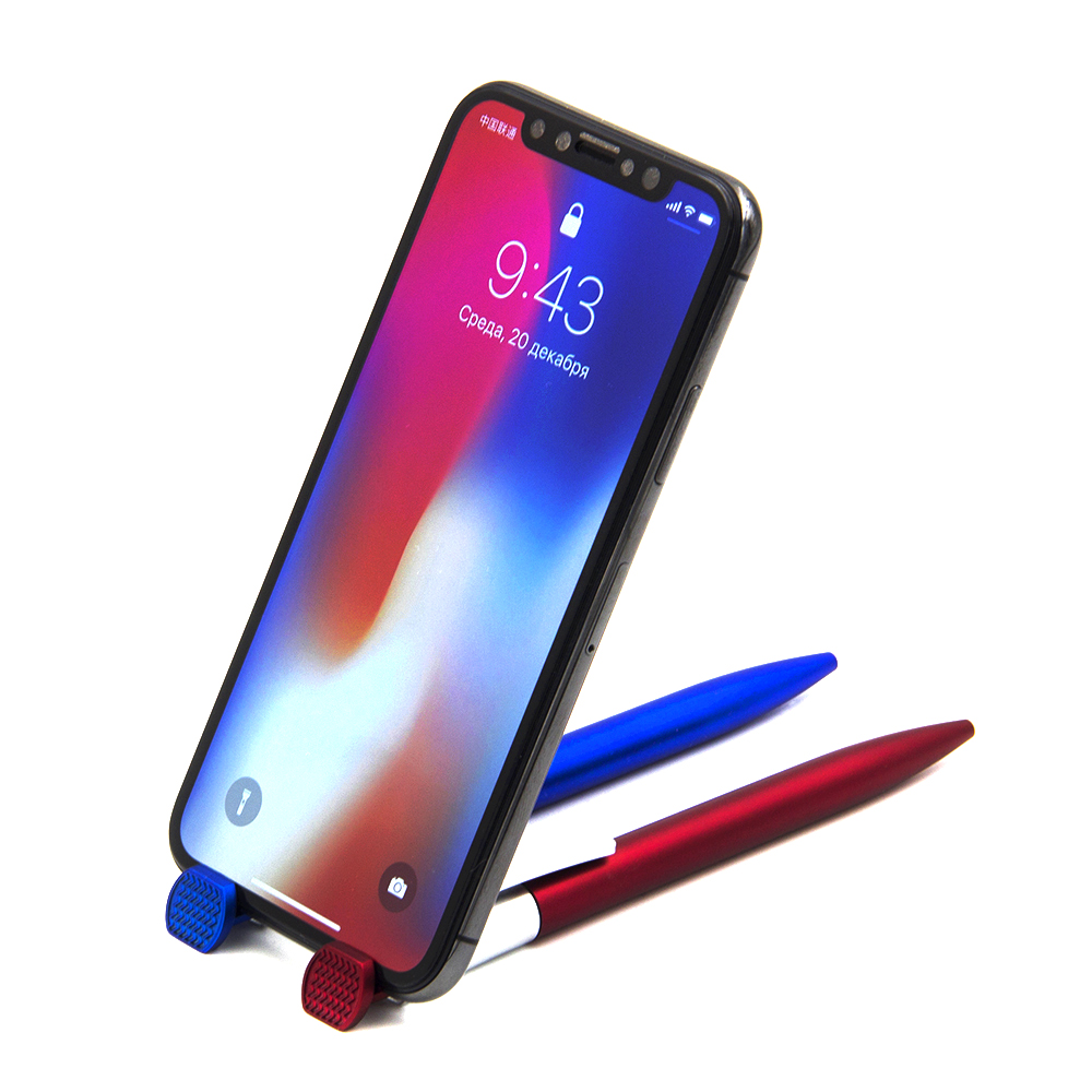 Авторучка шариковая с держателем для телефона, синие чернила, 3 цвета, пластик, в дисплее