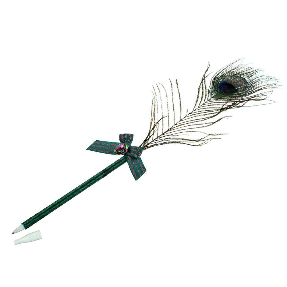"""Шариковая ручка со стразой и бантом, пластик, с подвесом, LA DECOR """"Павлинье перо"""""""