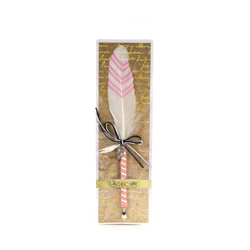 """LADECOR Ручка шариковая """"Перо со стрелками"""", с бантом и подвеской, пластик, с подвесом, 6 цветов"""