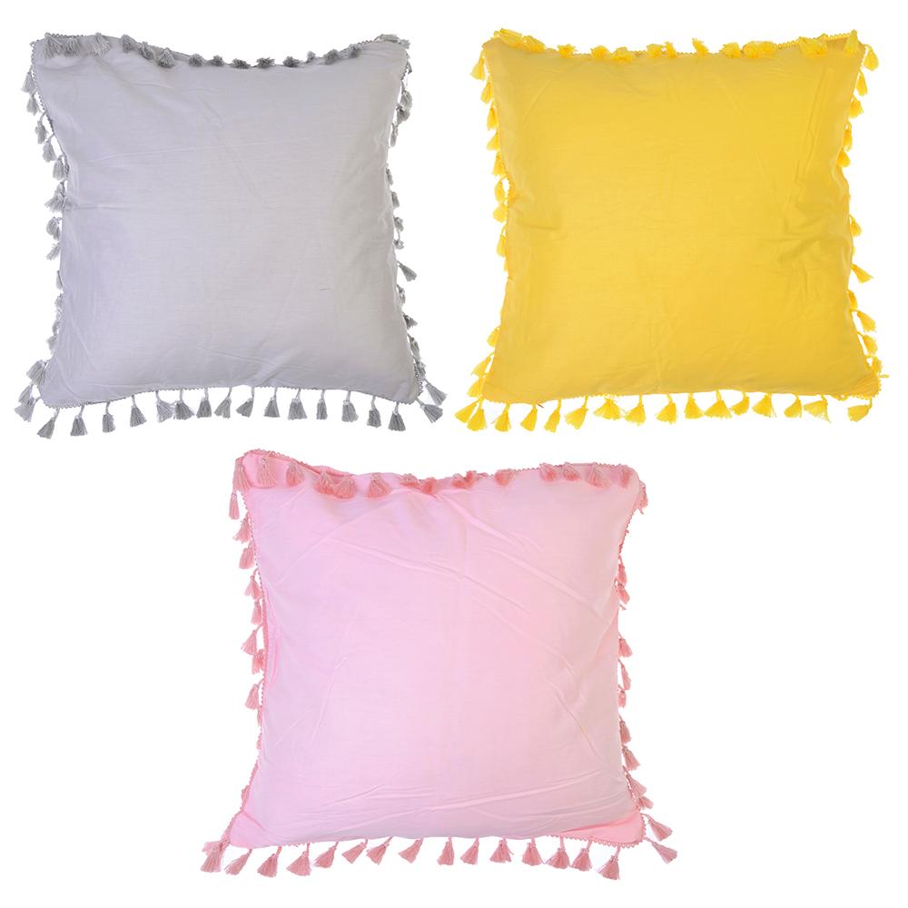 Декоративная наволочка для подушки с помпонами, 40х40см