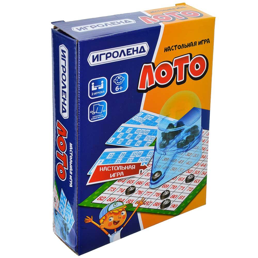 ИГРОЛЕНД Игра настольная Лото: 12 карточек, 90 номеров, пластик, картон, 20х14.5х4.2см