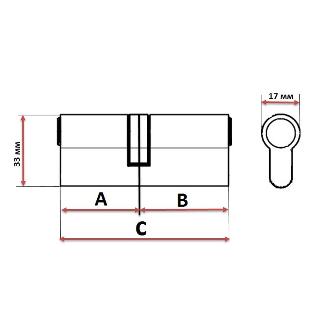 Сердцевина замка/ Цилиндровый механизм (сталь/цинк) 60мм(30+30), кл-кл, 5кл (перфо), бронза, блистер