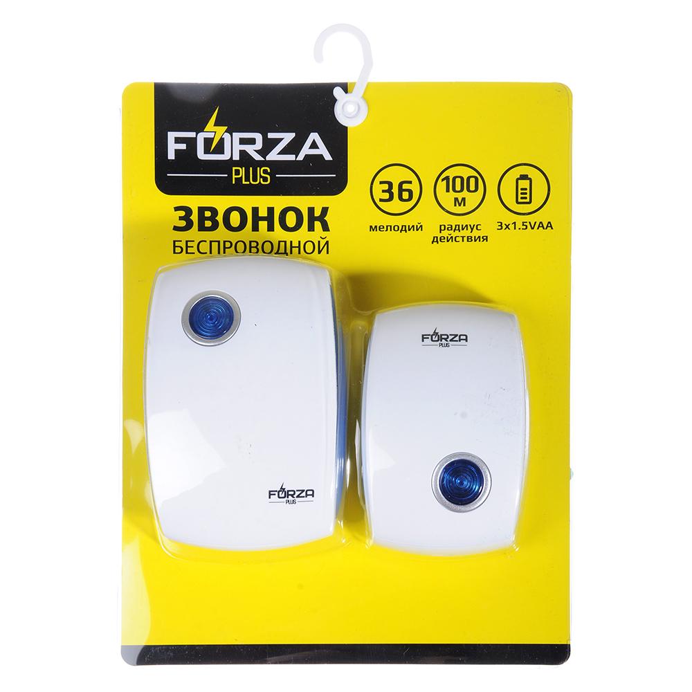 FORZA Звонок дверной, беспроводной 36 мелодий, 3АА, 1.5V, LED-индикатор, 75Дб, до 100 м