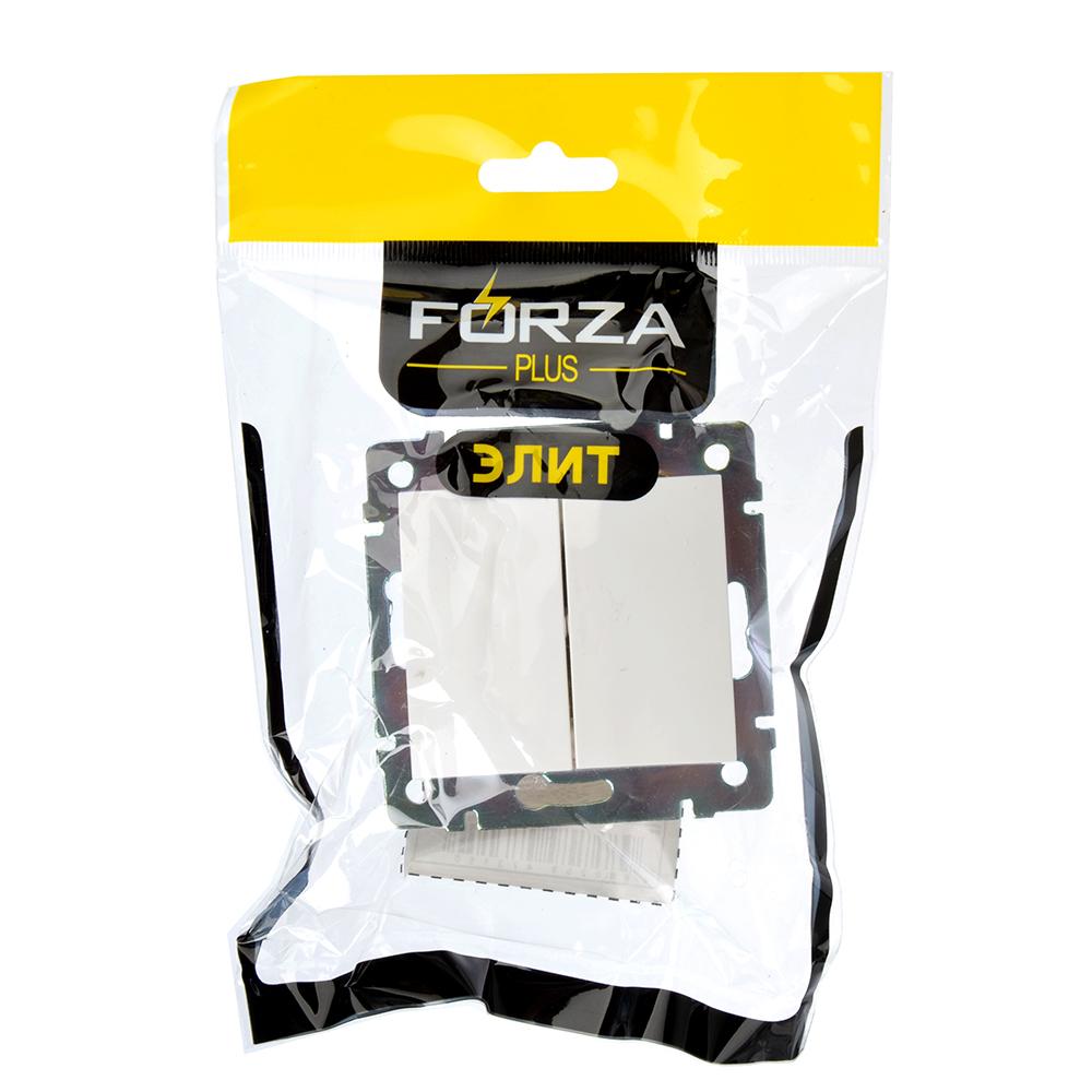 FORZA Элит Выключатель двухклавишный цвет белый 10А 250В пластик ABS