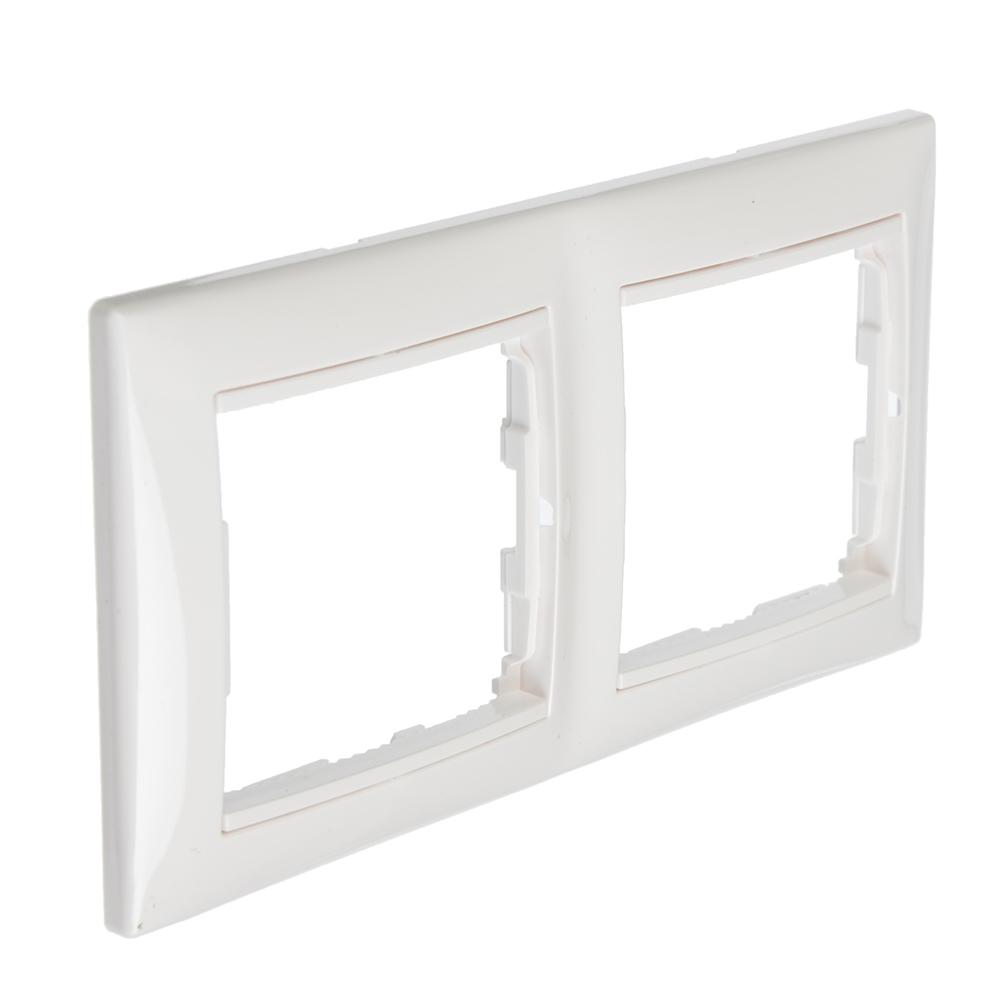 FORZA Элит Рамка двухместная горизонтальная, пластик ABS, белый