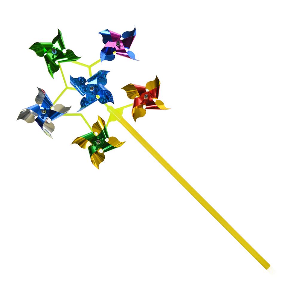 Ветрячок детский 6 звездочек, 19см, пластик, 19х42х3см