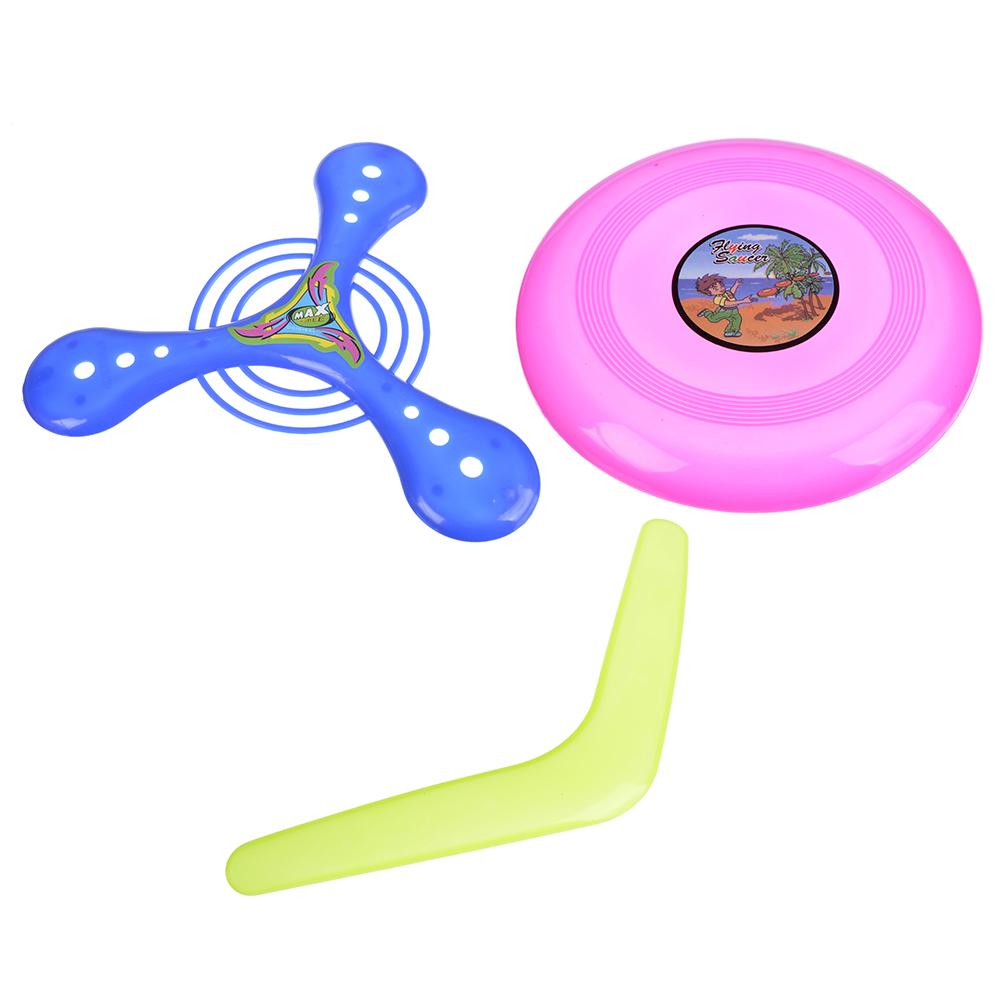 Набор Бросай и лови: бумеранги, летающая тарелка, 3 пр., пластик, 21х21см