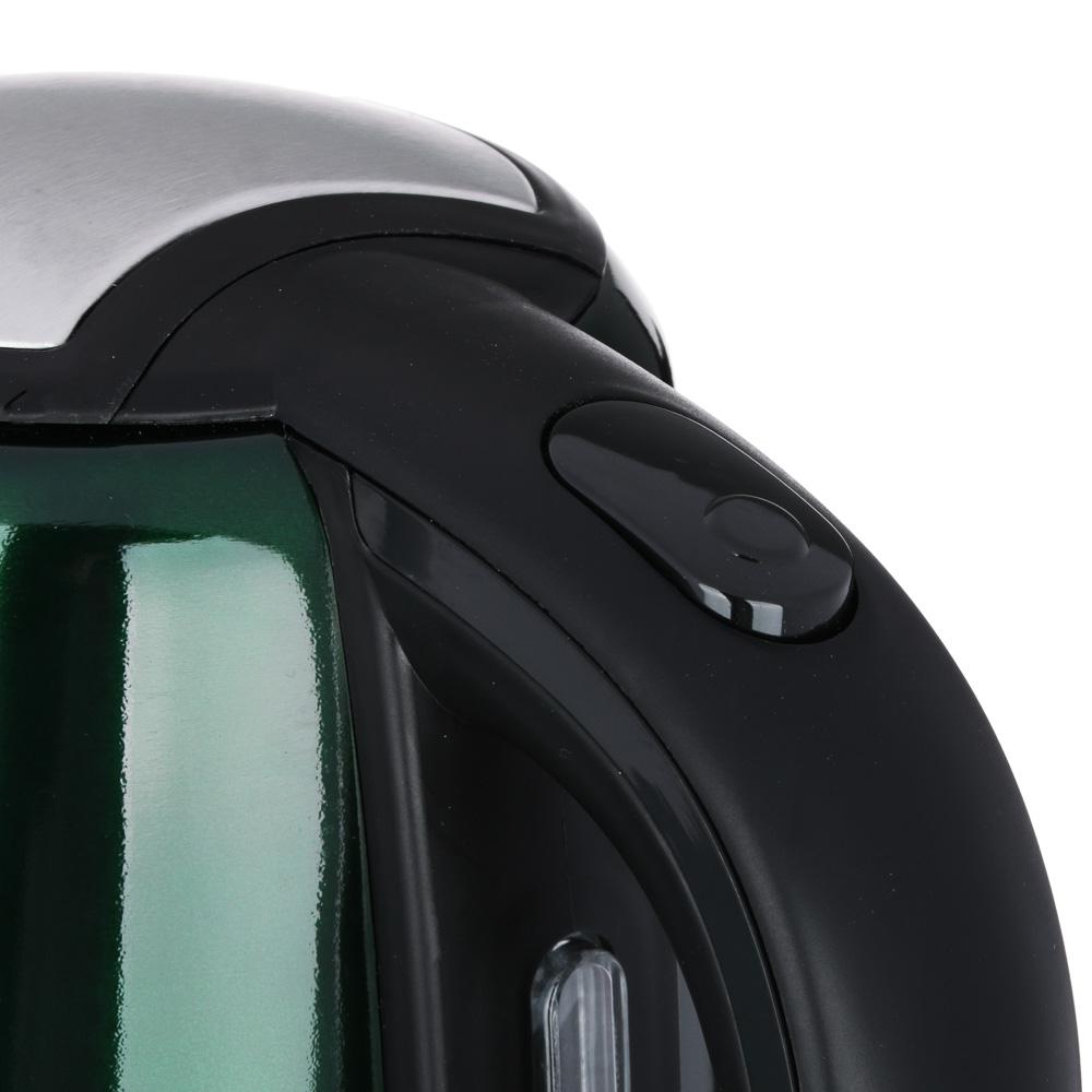 LEBEN Чайник электрический 1,8л, 1500Вт, скрытый нагр.элемент, автооткл., стекло, 3 цвета