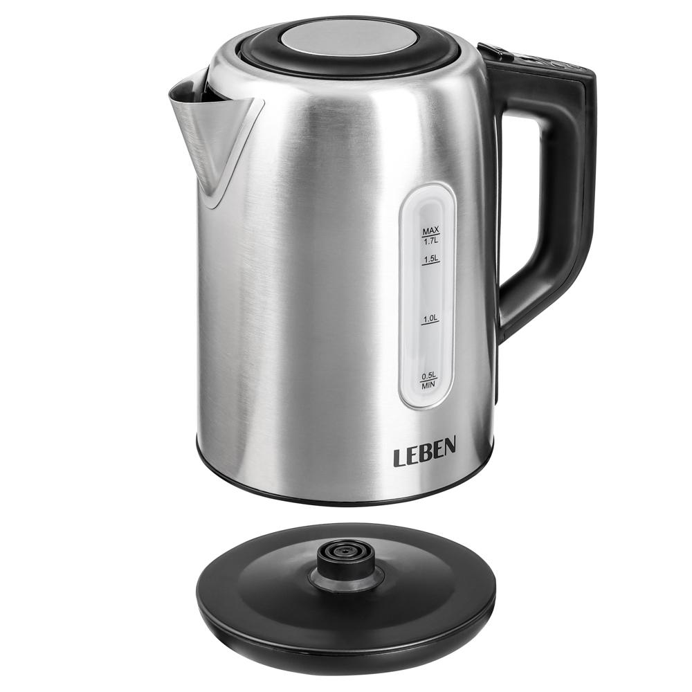 LEBEN Чайник электрический 1,7л, 1850Вт, скрытый нагр.элемент, поддержание темп., сталь, T-9013C