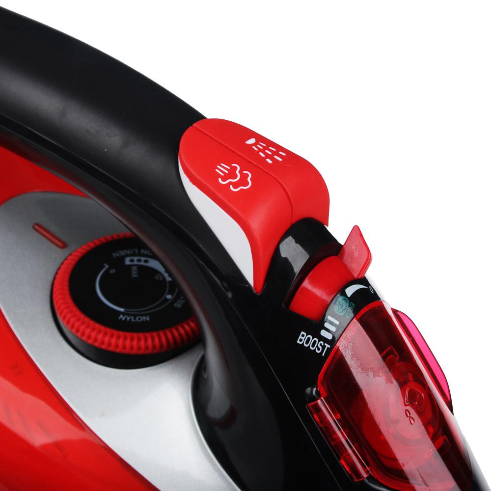 Утюг LEBEN 3000 Вт, подошва керамика, красный/черный