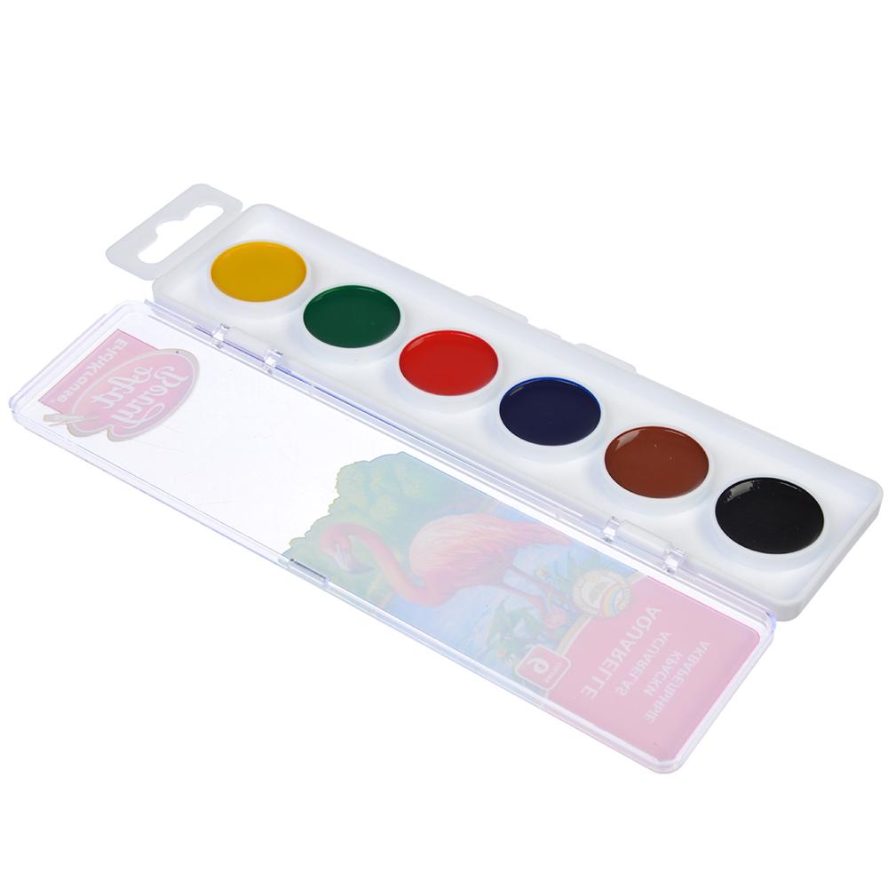 Акварельные краски, 6 цветов, УФ защита яркости, в пластиковой уп., ERICH KRAUSE