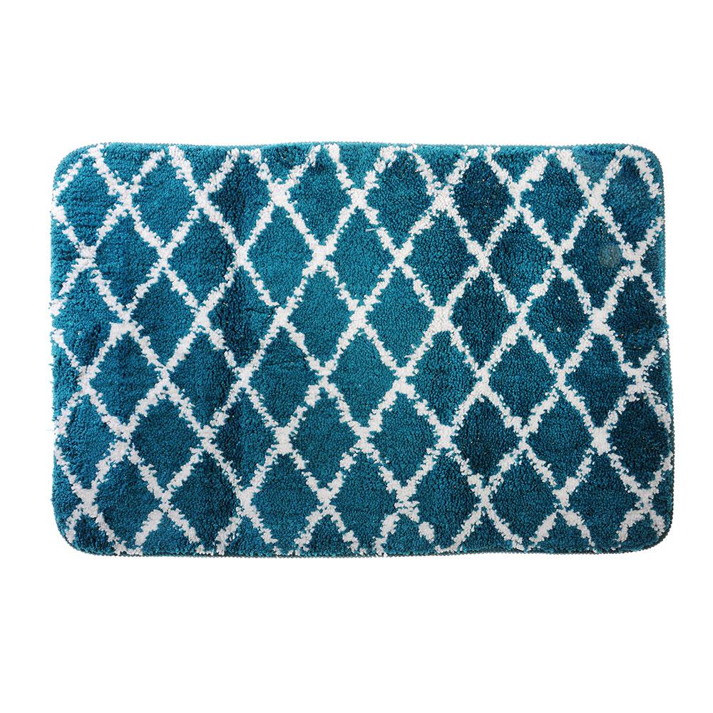SonWelle Коврик для ванной РОМБЫ 50х75см микрофибра синий