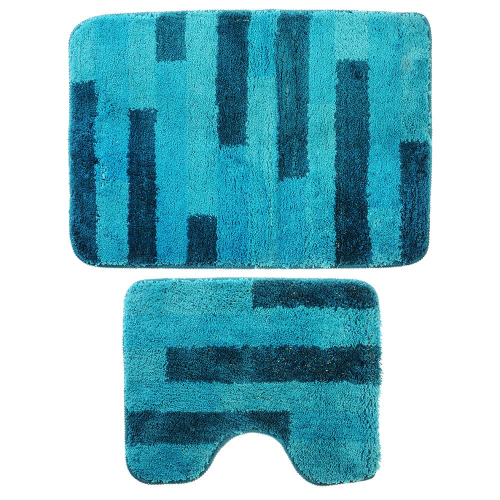 SonWelle Набор ковров для ванной ПОЛОСКА 50х75см + 40х50см микрофибра синий