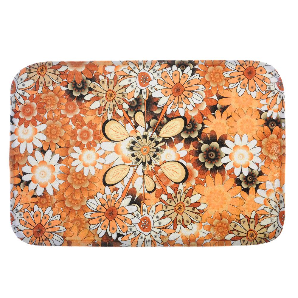 SonWelle Коврик для ванной ЦВЕТЫ флис, принт, губка, 0,8см, 40x60см