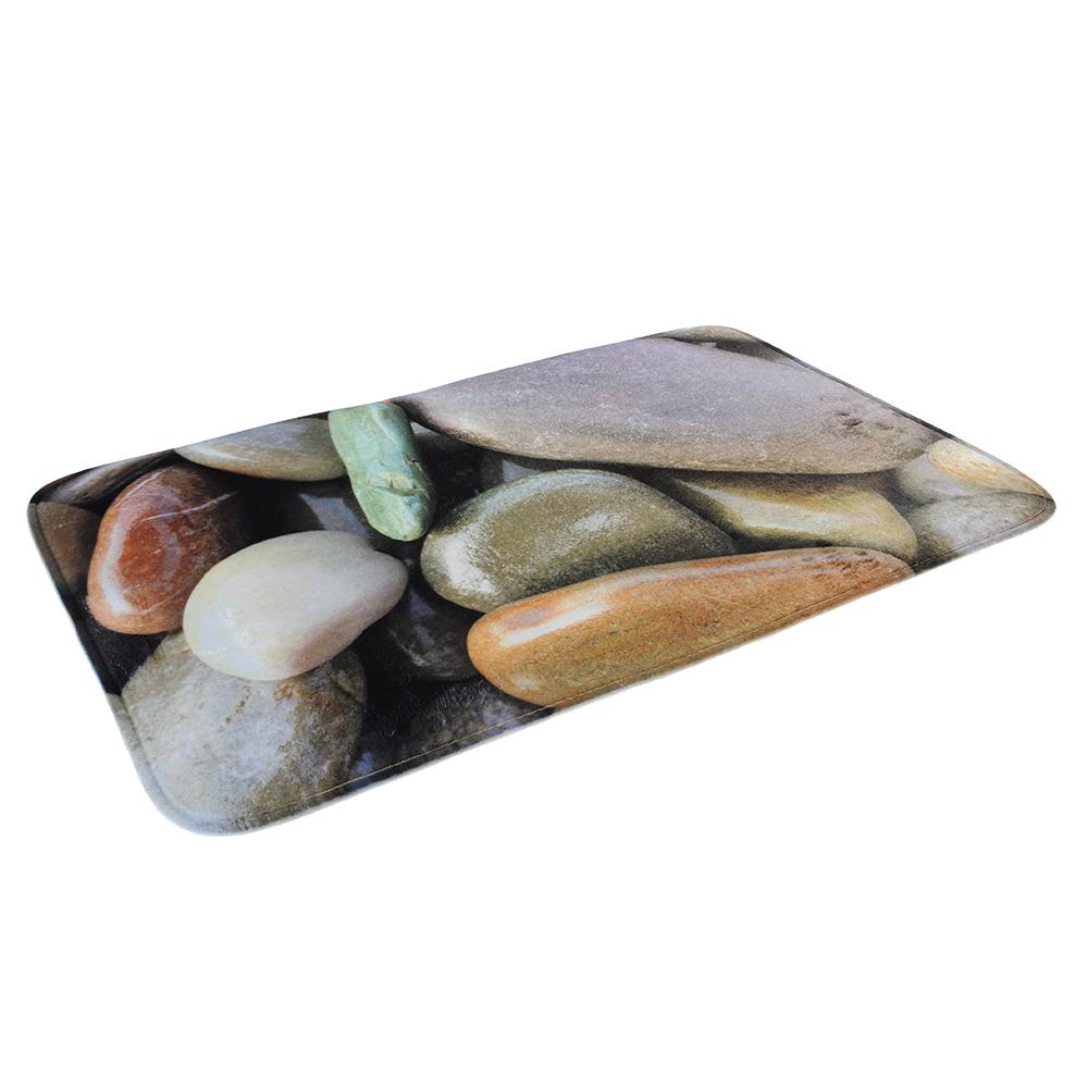 SonWelle Коврик для ванной КАМУШКИ флис, принт, губка, 1,2см, 50x80см