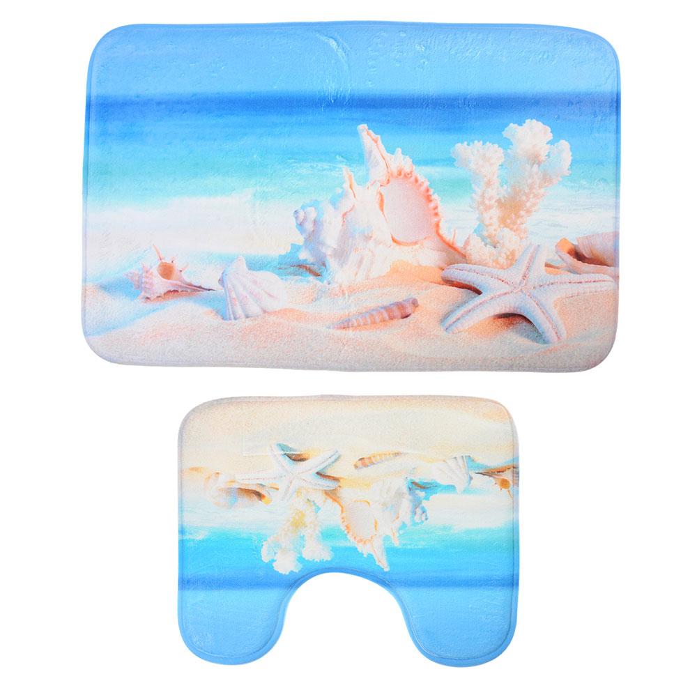 SonWelle Набор ковриков для ванной ПЛЯЖ флис, принт, губка, 1,2см, 50x80см+ 50x40см