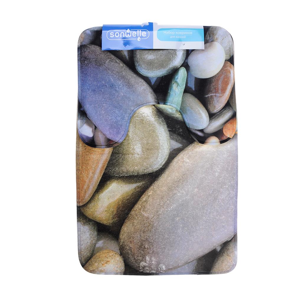 SonWelle Набор ковриков для ванной КАМУШКИ флис, принт, губка, 1,2см, 50x80см +50x40см