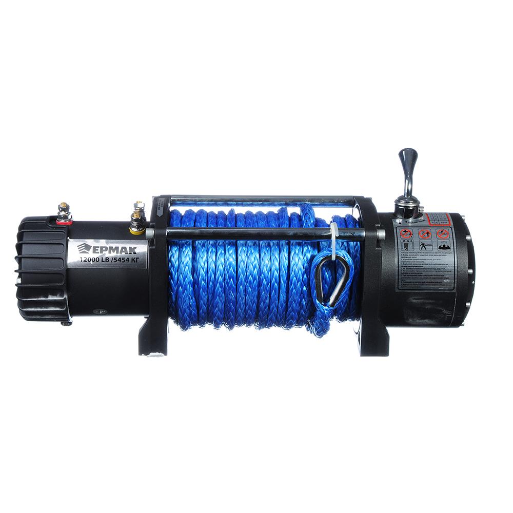 ЕРМАК Лебедка электрическая 12000lb (5454кг), синтетический трос 9,5мм/26 метров, 12V