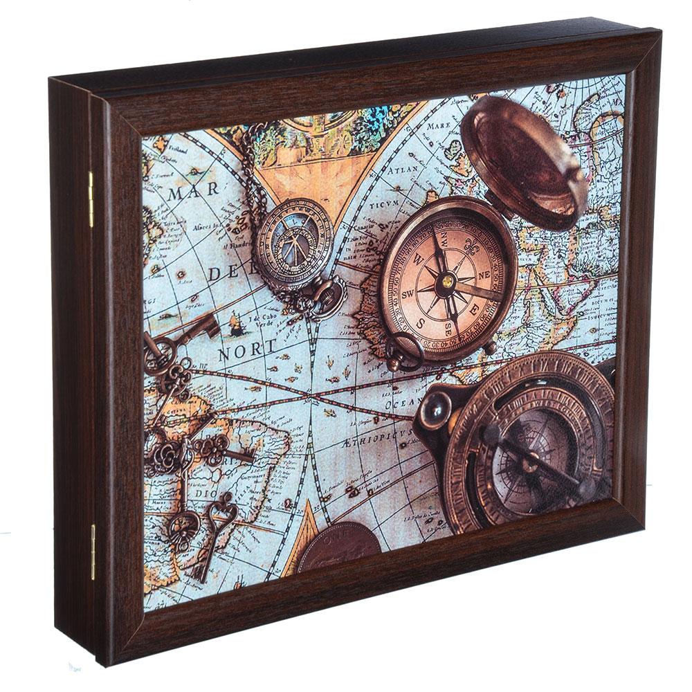 Ключница закрытая с изображением карты,на 7 крючков, 31х26х5см, МДФ, Дизайн