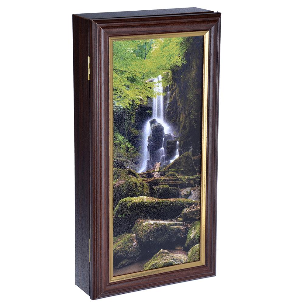 Ключница закрытая с изображением природы, на 3 крючка, 15х30х5см, МДФ, Дизайн
