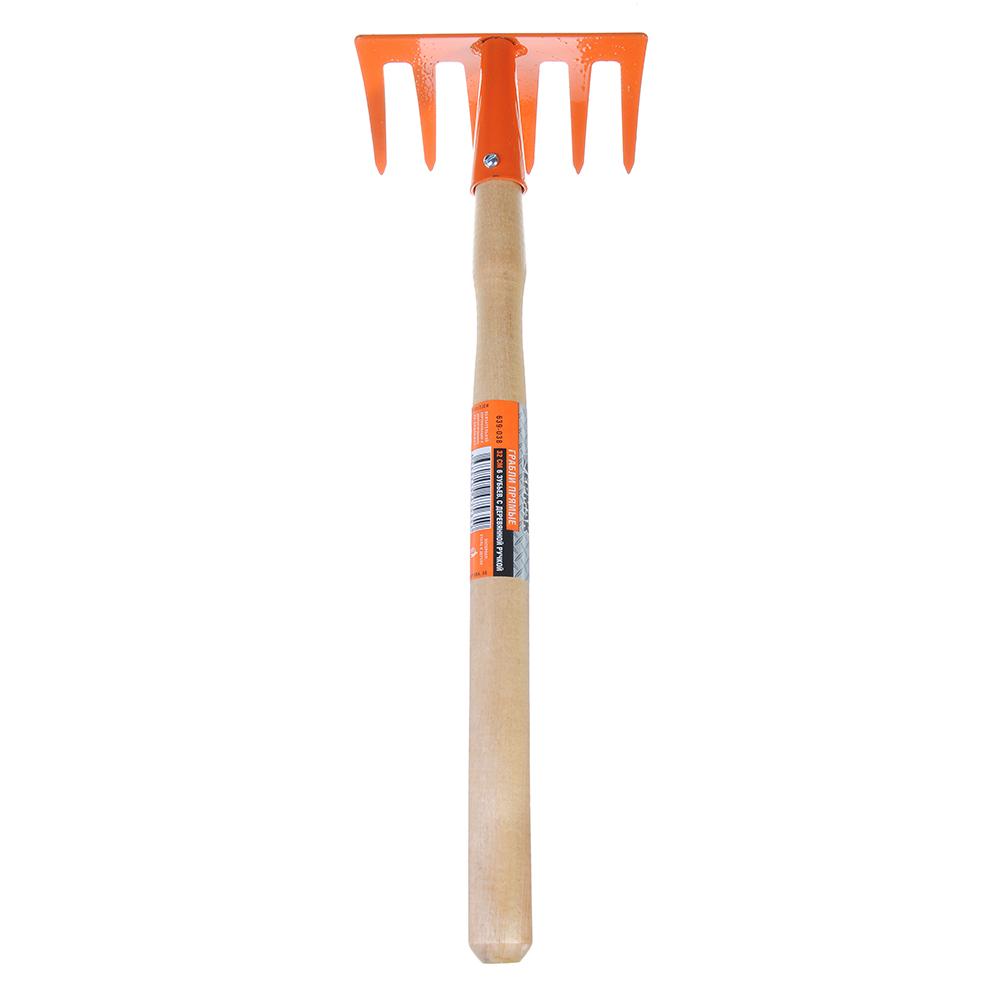 ЕРМАК Грабли прямые 6 зубьев 32см с деревянной ручкой
