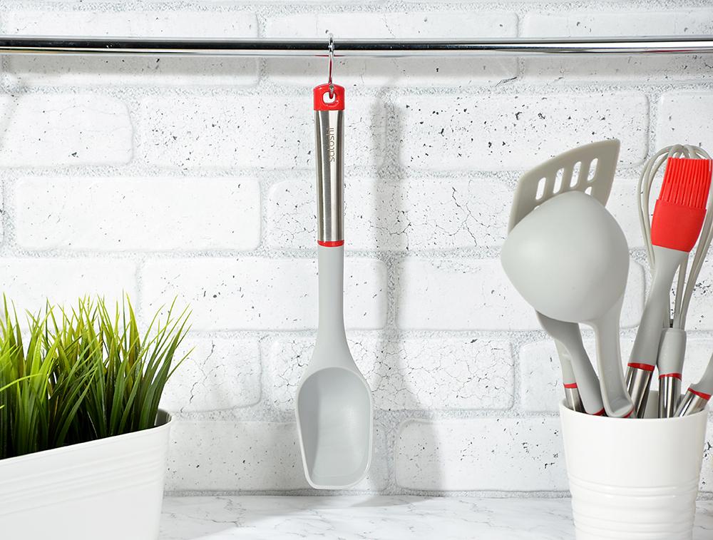 Ложка кухонная жаропрочный нейлон, ручка нержавеющая сталь/пластик, Премьер SATOSHI