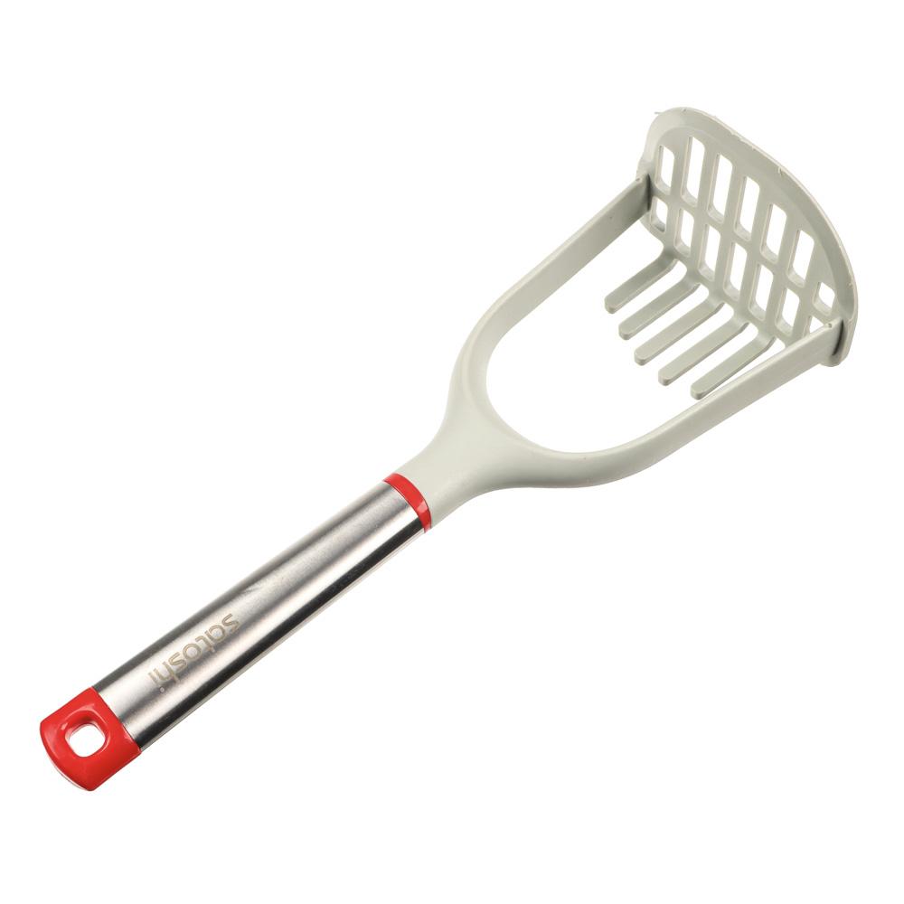 Толкушка для картофеля жаропрочный нейлон, ручка нержавеющая сталь/пластик, Премьер SATOSHI
