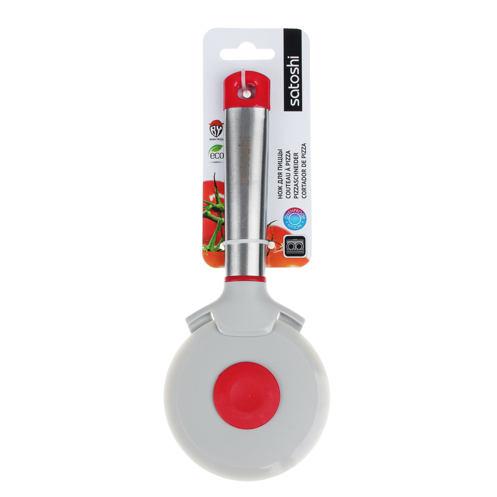 Нож для пиццы, жаропрочный нейлон, ручка нержавеющая сталь/пластик, Премьер SATOSHI