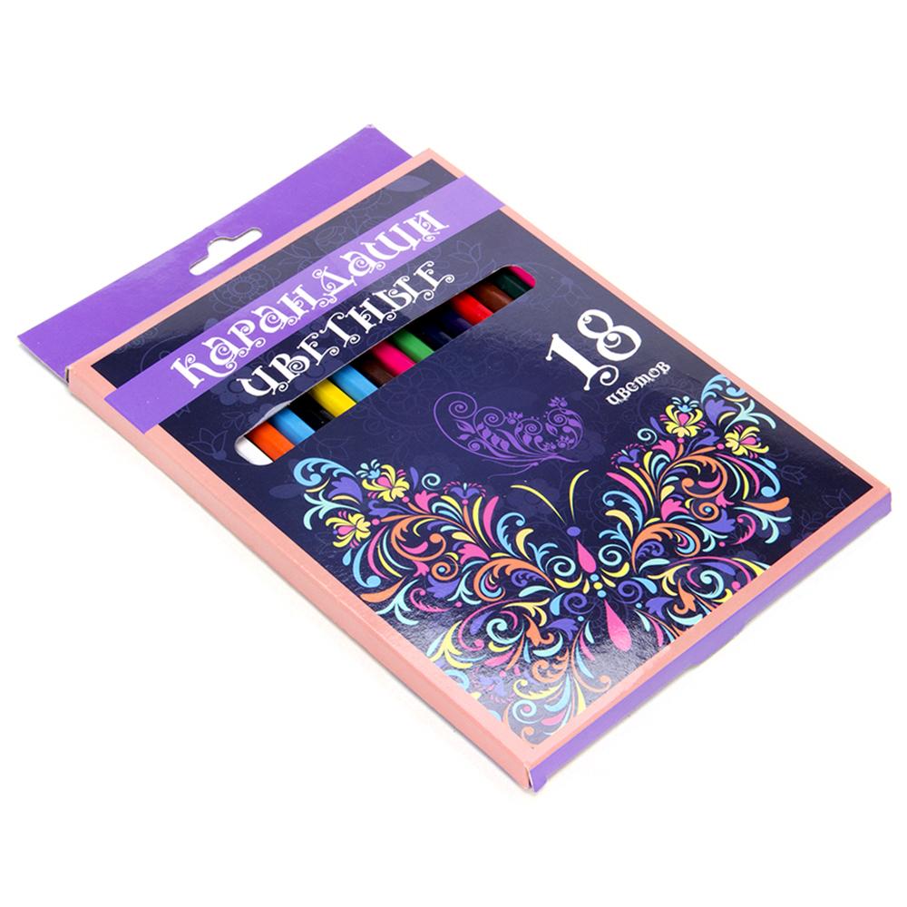 Набор карандашей для рисования, 18 цветов, заточенные, КРЫЛАТЫЕ ЦВЕТЫ ФЛЮО