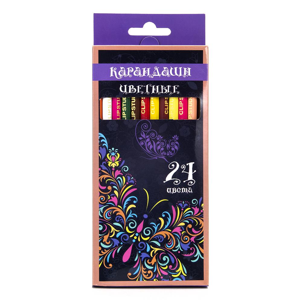 Набор карандашей для рисования, 24 цветов, заточенные, КРЫЛАТЫЕ ЦВЕТЫ ФЛЮО