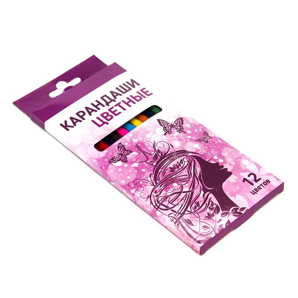 Карандаши для рисования, 12 цветов, заточенные, ФЭНТЕЗИ