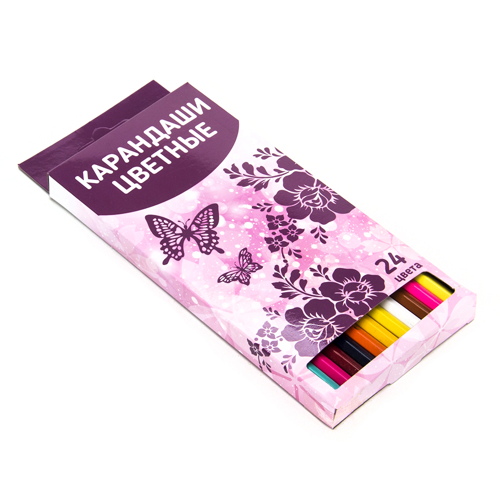 Карандаши для рисования, 24 цветов, заточенные, ФЭНТЕЗИ