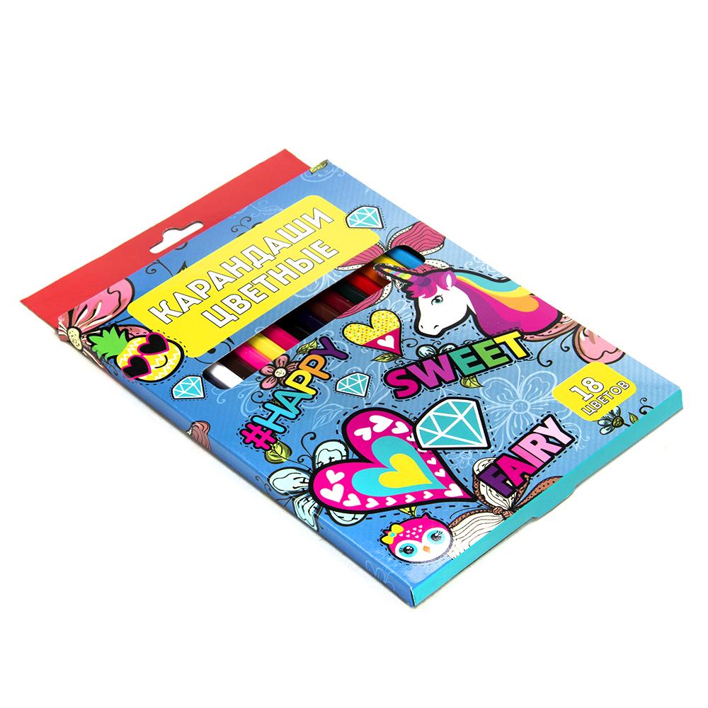 Цветные карандаши, 18 цветов, заточенные, ДЖИНС