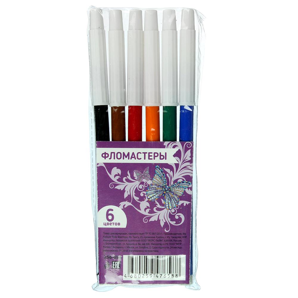 Фломастеры КРЫЛАТЫЕ ЦВЕТЫ-2 с белым колпачком,  6 цветов