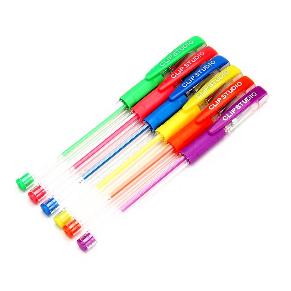 НОЧНЫЕ ГОНКИ Набор ручек гелевых 6 цветов флуоресцентных, 0,7мм, в ПВХ пенале с подвесом