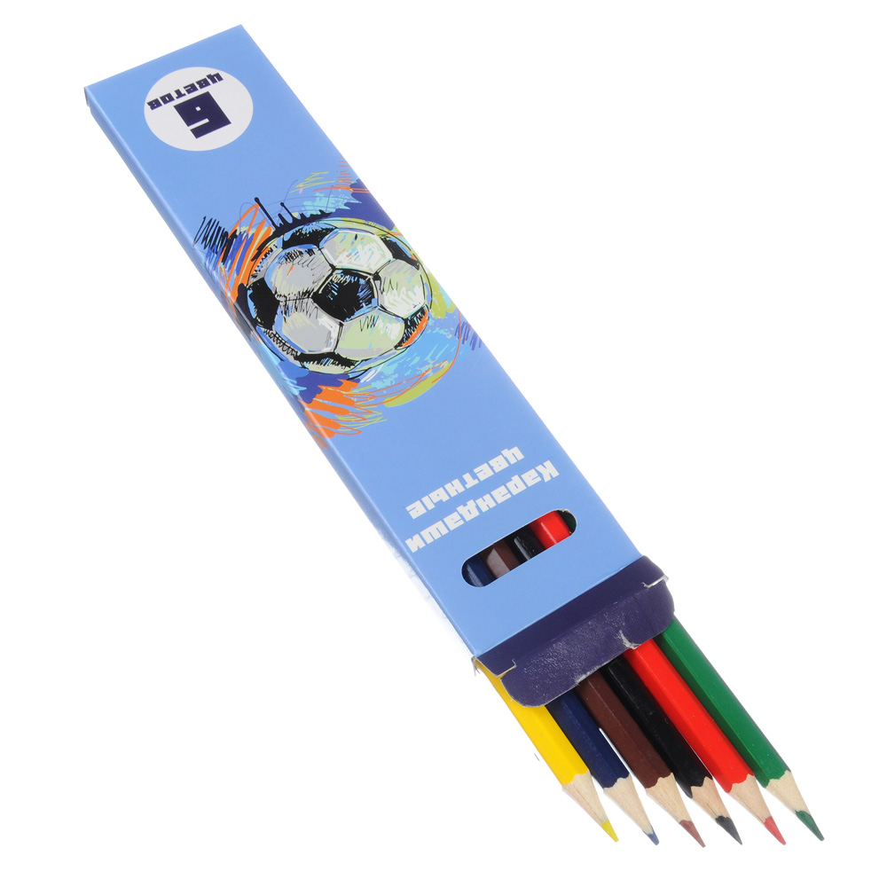 Цветные карандаши, 6 цветов, заточенные, ДЖУНИОР ФУТБОЛ
