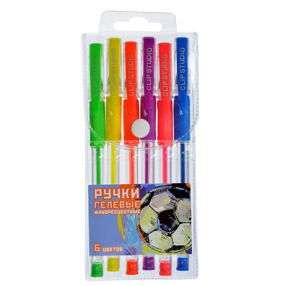 Набор гелевых ручек флуорисцентных, 6 цветов, линия 0,7 мм в ПВХ пенале ДЖУНИОР ФУТБОЛ