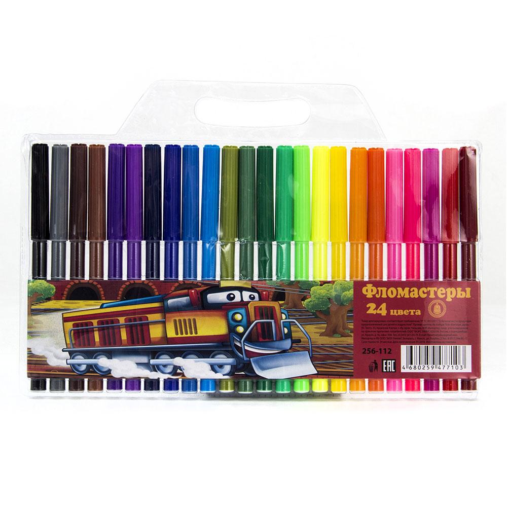 ТЕПЛОВОЗИК Фломастеры 24 цвета с цветным вентилируемым колпачком, 13,6х8,5мм, в ПВХ пенале с подв.