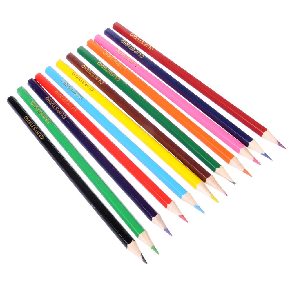 Цветные карандаши, 12 цветов, заточенные, СПЕЙС ФУТБОЛ