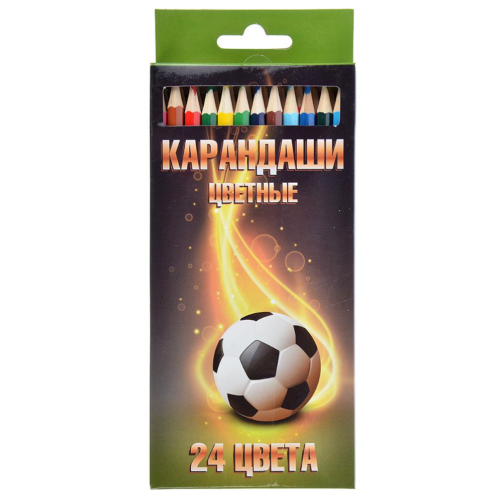 Цветные карандаши, 24 цветов, заточенные, СПЕЙС ФУТБОЛ