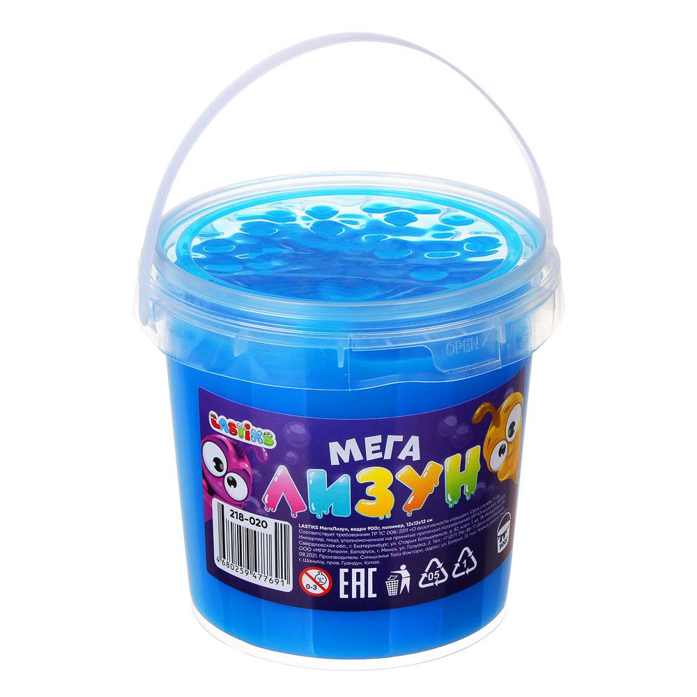 LASTIKS МегаЛизун с блестками, ведро 900г, полимер, 12х12х12 см, 12 цветов