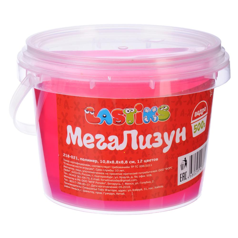 LASTIKS МегаЛизун, ведро 500г, полимер, 10,8х8,8х8,8 см, 12 цветов