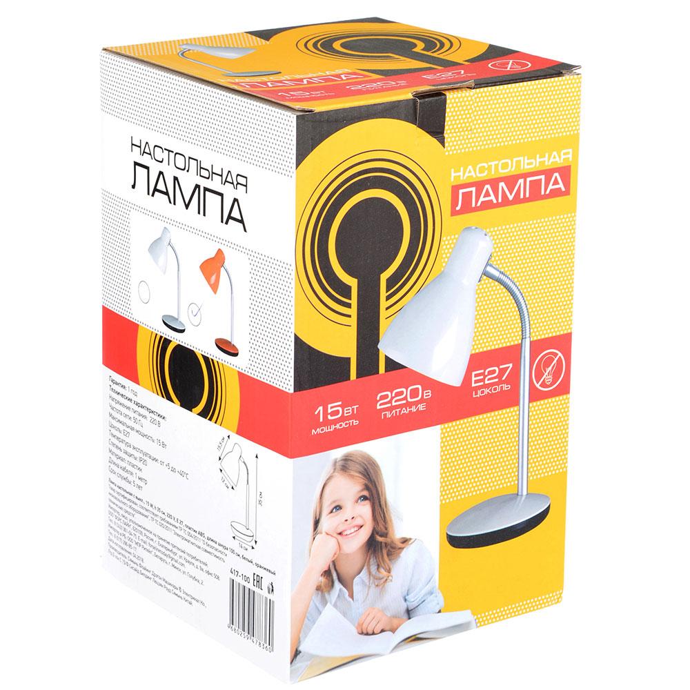 Лампа настольная с выкл., 15W, h 35см, 220V, E27, пластик ABS, Длина шнура 100 см, белый, оранжевый