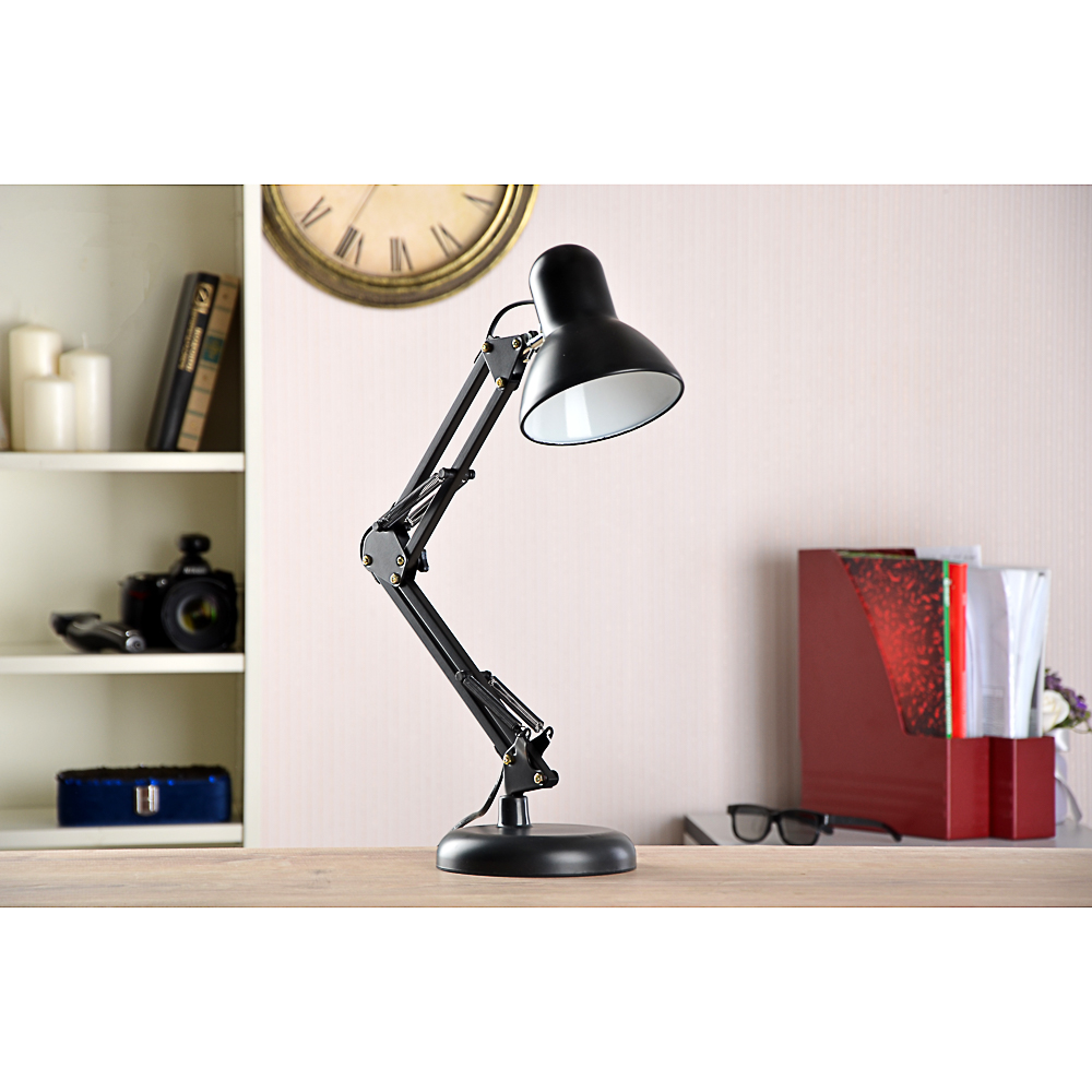 Лампа настольная с выкл. на шнуре 100см, 60Вт, H50см, 220В, E27, металл, 3 цвета