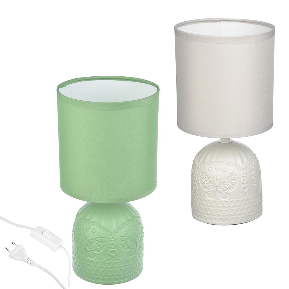 Лампа настольная, 26 см, шнур 100 см, E14, 220ВТ, 40 В, Керамика, текстиль, 2 цвета